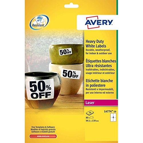 Avery L4774-20 Etichette in Poliestere, 4 Etichette per Foglio, 20 Fogli, 99.1 x 139, Bianco 572211