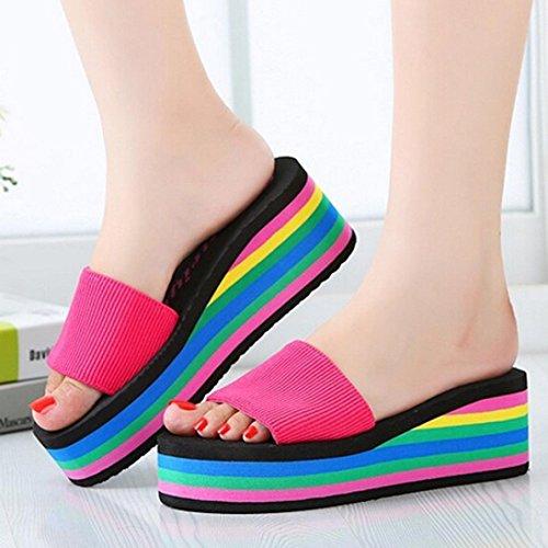 Ouneed® Sommer damen Regenbogen Sommer Non-Slip Sandalen weiblich Strand Pantoffeln Flip Flops Damen Erwachsene Zehentrenner Hot Pink