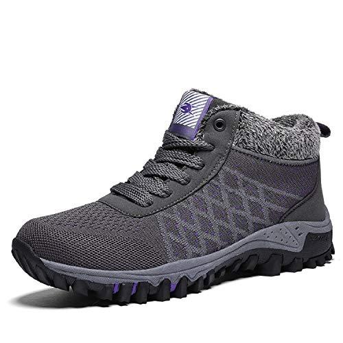 tqgold Invierno Antideslizante de Mujer Botines Cortas Forrada Botas Nieve Cordones Gris Zapatos Deportes de rBwrq7p