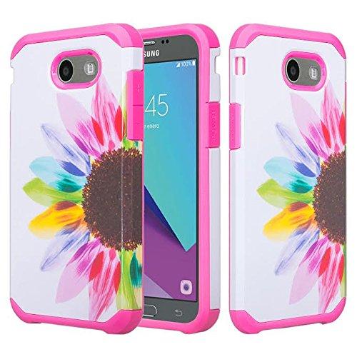 Galaxy J3 Luna Pro Case,J3 Prime Case,Galaxy J3 Eclipse Case,Galaxy J3 Emerge,Amp Prime 2,Express Prime 2,Sol 2,J3 Mission Shock Proof Phone Case Compatible for Samsung J3 2017, Sun Flower