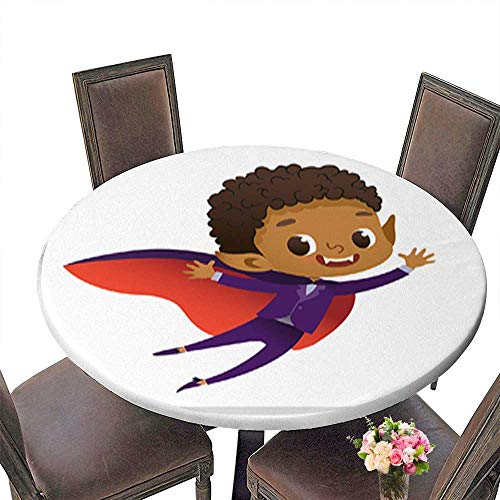 Polyester Round Table Cloth,Kids Costume Party African-American Dracula Vampire Boy in Halloween Devil cos Table up to 59.5