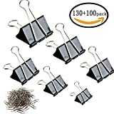 #6: Binder Clips - 130 Pcs Assorted Sizes Paper Clamp & 100 Pcs Bonus Paper Clips (Black)