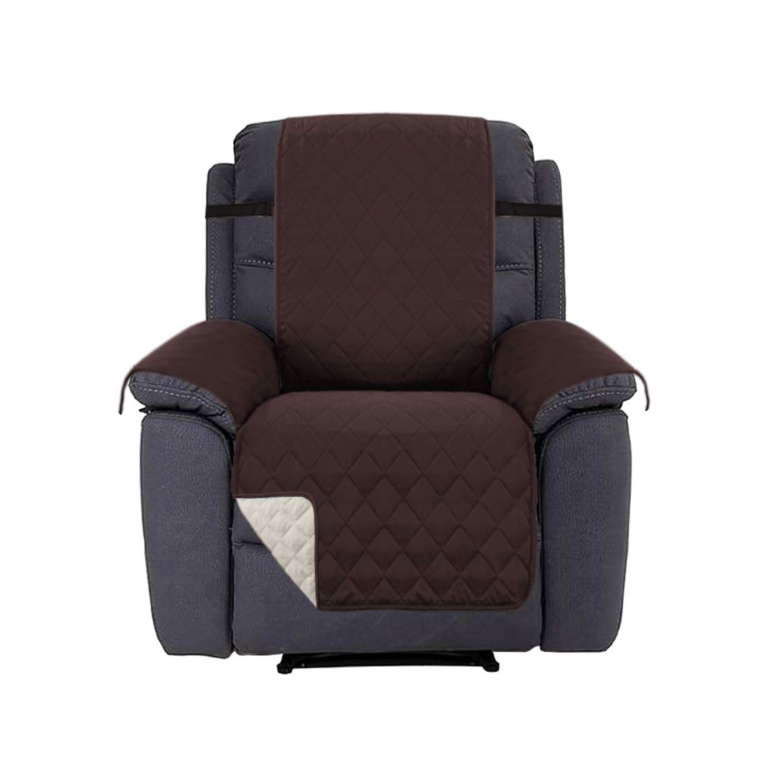 H.VERSAILTEX Recliner Cover Recliner Slipcover Recliner Protector for Pets, Reversible and Thick, 2'' Elastic Straps, Diamond Stitches Pattern, Cotton Like Quilted (Recliner Brown/Beige)
