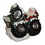 Santa Claus Driving Car with LED Light Christmas Holiday Decor Figurine Polyresin 11.5'' inch