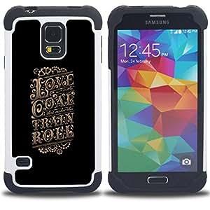 """SAMSUNG Galaxy S5 V / i9600 / SM-G900 - 3 en 1 impreso colorido de Altas Prestaciones PC Funda chaqueta Negro cubierta gel silicona suave (Amor Cartel Negro Retro Vintage Oro"""")"""