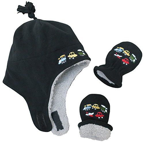 N'Ice Caps Boys Sherpa Lined Micro Fleece Embroidered Hat and Mitten Set (6-18 months, Infant - (Sherpa Lined Flap Hat)