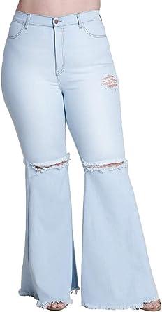 Women High Waist Flare Bell Bottom Jeans Skinny Plus Size Wide Leg Denim Pants