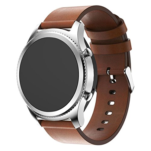 (Ninasill Replacement Leather Watch Bracelet Strap Band Men Women Exclusive for Gear S3 Frontier Watch Strap (Brown))