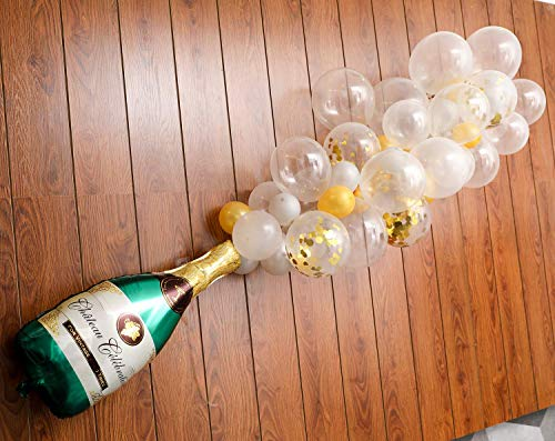 "Champagne Bottle Balloon Kit,40"" Champagne Bottle Balloon & 70Pcs Assorted Balloons Ideal for Wedding Birthday Bachelorette Bridal Shower Party Decorations"