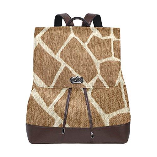 (KUWT Leopard Animal Skin Print PU Leather Backpack Photo Custom Shoulder Bag School College Book Bag Rucksack Casual Daypacks Diaper Bag for Women and Girl)