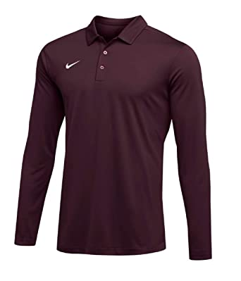 7d34a958 NIKE Mens Dri-FIT Long Sleeve Polo Shirt (Maroon, Large) at Amazon Men's  Clothing store: