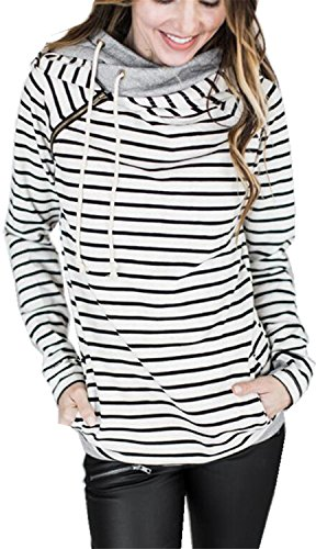 Sweater Asymmetrical Striped (Arctic Cubic Asymmetric Asymmetrical Hooded Hood Hoodie Striped Stripe Colorblock Cotton Sweatshirt Top Side Zips Closure White L)