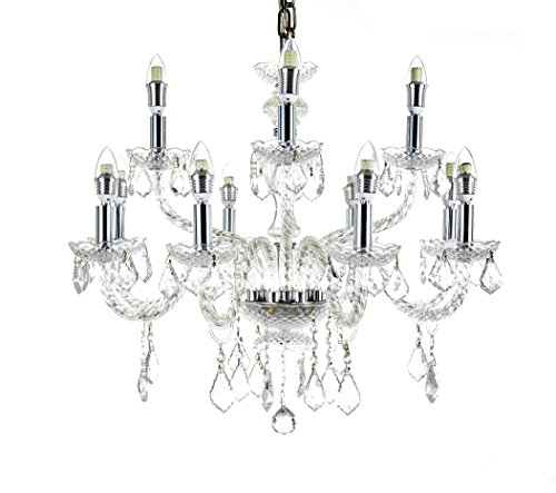 Twelve Light Crystal Pendant - Diamond Life 12-Light Chrome Finish Crystal Chandelier Pendant Ceiling Light Clear European Crystal, 27