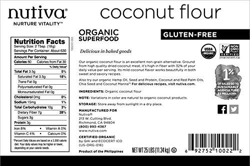 Nutiva USDA Certified Organic, non-GMO, Gluten-free, Unrefined Coconut Flour, 25-pound by Nutiva (Image #1)