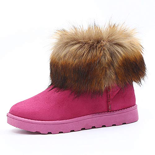 - LIM&Shop ⭐ Women's Short Snow Boot Mid Calf Boots Cow Leather Faux Fur Tassel Winter Snow Boot Suede Flat Ankle Boots