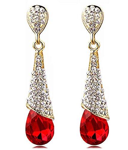 Elegant Rhinestone Crystal Drop Earrings (Ruby Red) -