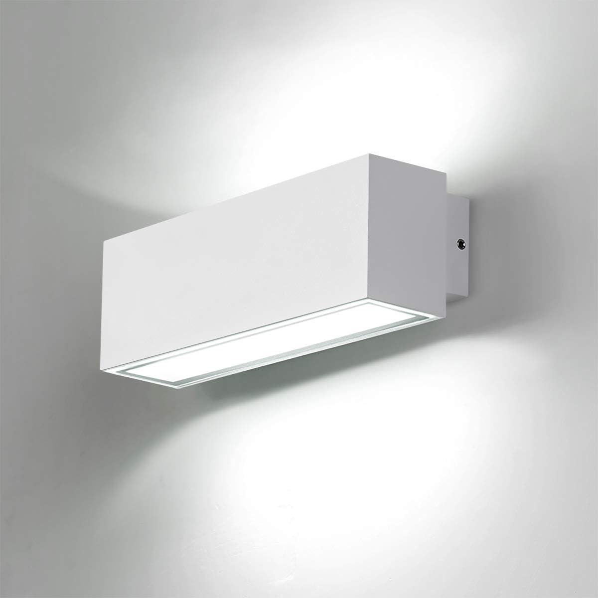 Dr.lazy Apliques de Pared Exterior LED 12W Lámpara de Pared Impermeable IP65 Luz de Aluminio Iluminación para Balcón, Jardín, Porche, Camino, Patio (Blanco-6000K)