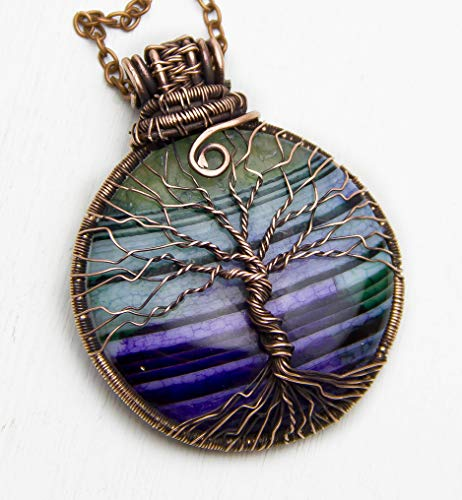 Agate Tree of life necklace Family Tree Protection amulet Copper Wire wrap Pendant Boho jewelry