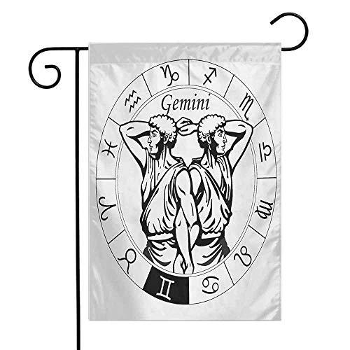Zodiac Gemini Garden Flag Monochrome Zodiac Wheel and Male Twins in Ancient Greek Style Clothes Decorative Flags for Garden Yard Lawn W12 x L18 Black and White