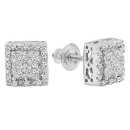 Dazzlingrock Collection 0.15 Carat (ctw) Round White Diamond Ladies Square Shape Stud Earrings, Sterling Silver (Sterling Silver Earring Jackets For Diamond Studs)