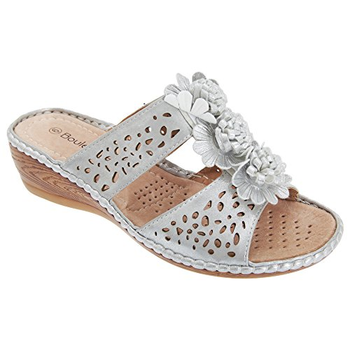 Boulevard Womens/Ladies 2 Bar Punched Floral Mule Wedge Sandals Light Silver 4knXyA5F