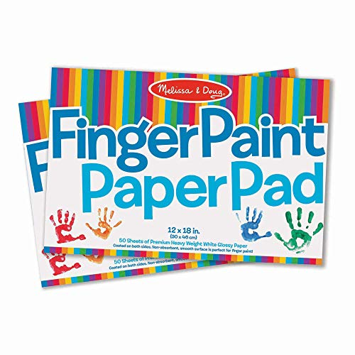 "Melissa & Doug Finger-Paint Paper Pad 2-Pack (Arts & Crafts, Glossy Paper, Non-absorbent, 50 Sheets Each, 17"" H x 12"" W x 0.25"" L, Great Gift for Girls and Boys - Best for 3, 4, 5 Year Olds and Up)"
