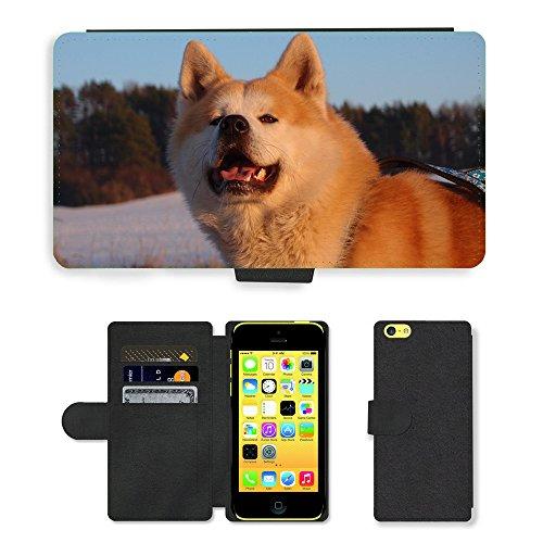 Just Phone Cases PU Leather Flip Custodia Protettiva Case Cover per // M00128392 Puppy Dog animaux Animaux de compagnie // Apple iPhone 5C