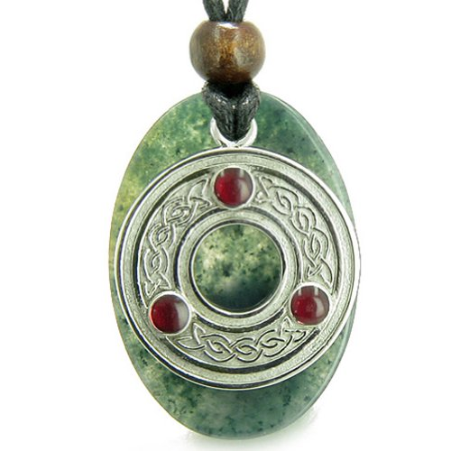 Amulet Celtic Triquetra Protection Knot Moss Agate Good Luck Pendant - Necklace Moss Agate