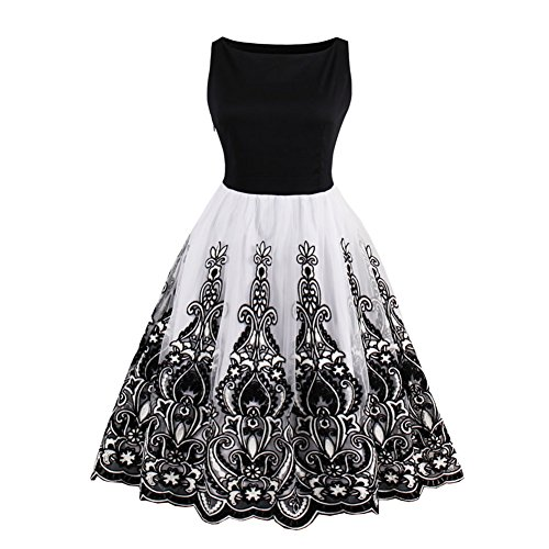 Suroomy Black Lace Cocktail Party Dress Swing Pin Up Evening Dresses S