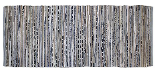 DII Home Essentials Rag Rug Runner for Kitchen, Bathroom, Entry Way, Laundry Room and Bedroom, 2'3 x 6-Feet, Gray (Kitchen Room Rugs)