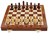 Craftgasmic Folding Magnetic Chess and Pieces, Set Wooden Board Travel Games 10 inches