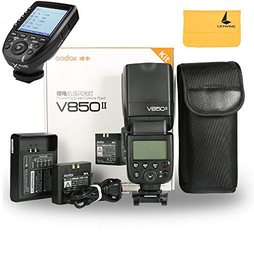 Godox V850II GN60 2.4G 1/8000s HSS Camera Flash Speedlight with 2000mAh Li-ion Battery Features 1.5s Recycle Time and 650 Full Power Pops for Canon,Godox XPro-C Flash Trigger For Canon EOS Cameras