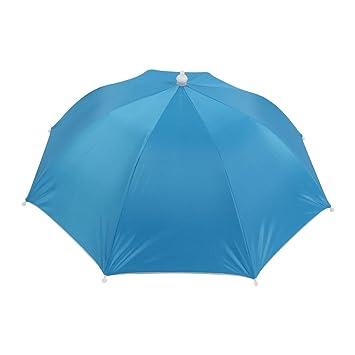 766b598756b Sky Blue Folding Umbrella Hat with Adjustable Headband  Amazon.co.uk ...