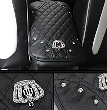 7.67 x 11.81 inch ,Black Sino Banyan Car Leather Crown Center Console Cover,Decoration Pad Cushion