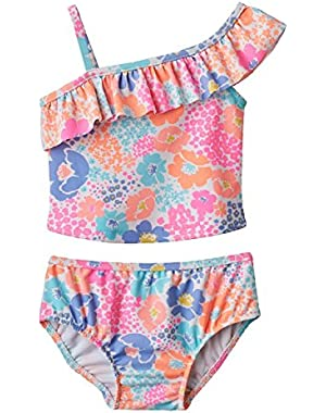 Pink Floral 2 Piece Swimsuit 12 Months