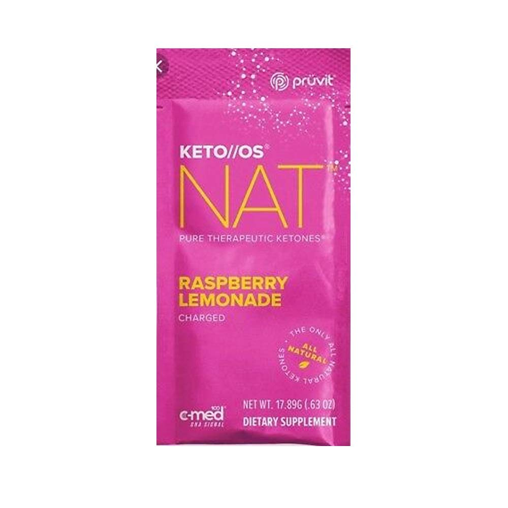 Pruvit Keto//OS NAT CHARGED, BHB Salts Ketogenic Supplement - Beta Hydroxybutyrates Exogenous Ketones for Fat Loss, Workout Energy Boost Through Fast Ketosis. 20 Sachets (Raspberry Lemonade)