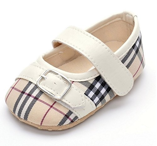 Infant Classical Gingham Leather Fashion Princess Buckle Strap Buckle Strap Baby Girls Shoes First Walkers (1, White) (Dino Leather)