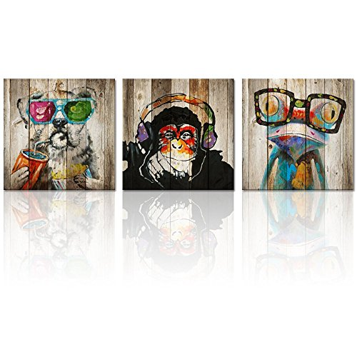 Kolo Wall Art 3 Piece Abstract Animals Nursery Canvas Prints Wall Art Frog Gorilla Dog Painting Picture on Vintage Wood Background Kids Boy Room Wall Decor Stretched Framed Ready to - Framed Art Frog