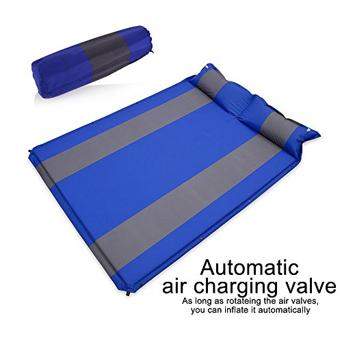 Self Inflating Ground (Newdora Double 2 person Camping Self Inflating Sleeping Pad with Attached Pillow Lightweight Air Sleeping Pads Air Inflatable Camping Mat for Travel, Backpacking, Camping, Hiking)