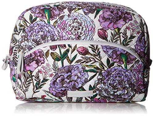 Vera Bradley Women's Signature Cotton Large Cosmetic Makeup Bag, Lavender Meadow, One Size