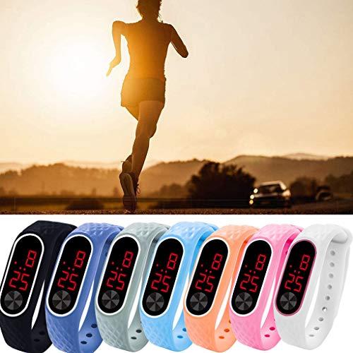 Haluoo LED Outdoor Sports Watch Silicone Strap Digital Wristwatch Bracelet for Boys Girls (Black)