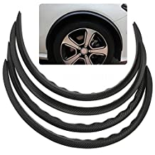 Universal Carbon Fiber Rubber Car Fender Flares Arch Truck Wheel Trims Protector Eyebrow Strip (4pcs)