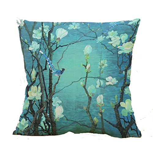 Oil Painting Hundreds of Birds Cotton Linen Throw Pillow Case Cushion Cover Home Sofa Decorative 18 X 18 Inch(3) (9)