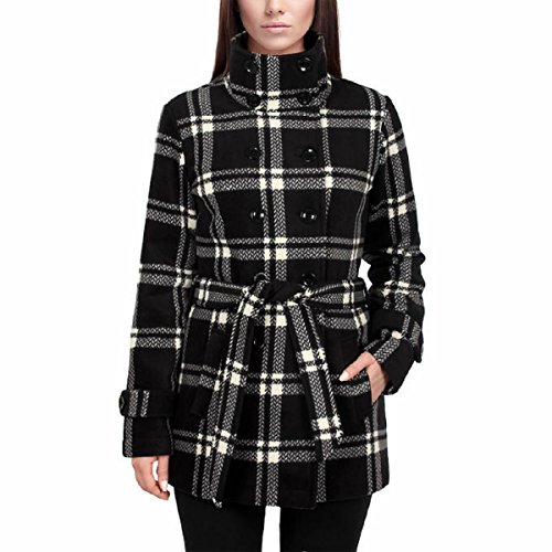 Ike Behar Women's Double Breasted Fleece Belted Coat (Large, Black/Ivory (Double Breasted Belted Plaid Coat)