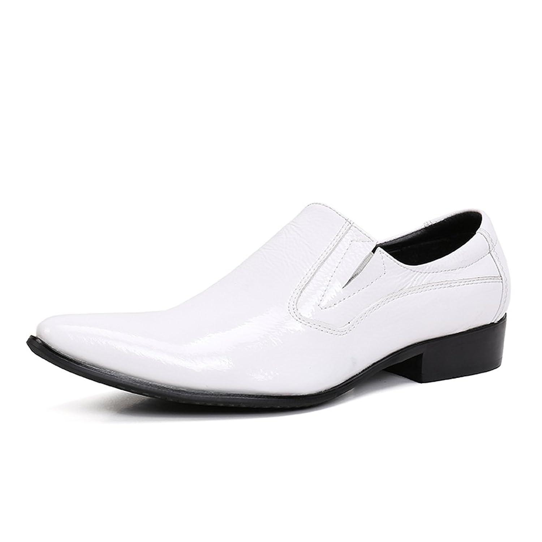 靴、フォーマルシューズフォーマルなビジネスワークス快適なモカシンヘアドライナーブルーレザーシューズ春秋メンズファッションシューズウェディングレザーシューズ (Color : 白, Size : 41) B07FMC7BFF