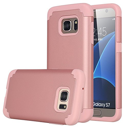 Galaxy S7 Case, Pandawell™ [Corner Protection] Slim Thin Hybrid Dual Layer Shock Absorbing Impact Resist Case Cover for Samsung Galaxy S7 (Rose Gold)