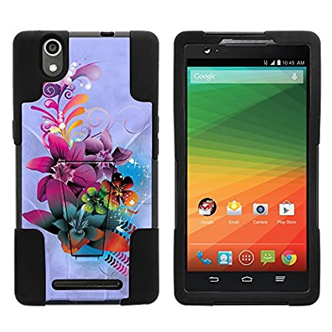 ZTE ZMax Phone Case, Dual Layer Shell STRIKE Impact Kickstand Case with Unique Graphic Images for ZTE ZMax Z970 (T Mobile, MetroPCS) from MINITURTLE | Includes Clear Screen Protector and Stylus Pen - Purple Flower (Zte Zmax Phone Case Z970)