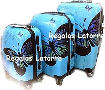 """Juego de 3 Maletas, modelo: """" Mariposas """". Con 4 ruedas"""