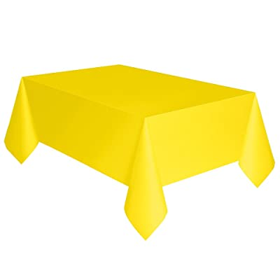 """Neon Yellow Plastic Tablecloth, 108"""" x 54"""": Toys & Games"""