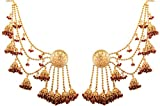 Touchstone ''Devsena Bahubali Collection Indian Bollywood Designer Jewelry Earrings with Maroon Beads for Women in Antique Gold Tone.